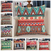 Wholesale Vintage Car Prints - Retro Vintage Printed Pillow Case Covers 45*45cm Hand Crafted Native American Decorative Pillow Case Sofa Car Bed Cushion 120pcs OOA3644