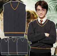 Wholesale Cosplay Sweaters - PrettyBaby harry potter sweater gryffindor Slytherin Ravenclaw Hufflepuff school uniforms Unisex v neck sweater cosplay waistcoat in stock