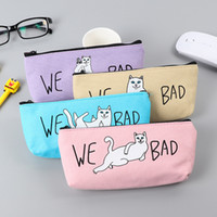 Wholesale Large Fabric Pencil Case - Students pencil box canvas bag cat Korean pencil pencil bag and large capacity are learning activities