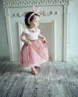 Wholesale Girls Sequin Collar - 2015 Summer new girl sets sequin t-shirts and long skirt girl princess 2 Piece Sets 1508