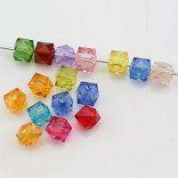 encantos plásticos lisos venda por atacado-Quente! 500 pcs Mix Color Acrílico Transparente Facetado Quadrado Spacer beads 7 MM DIY Jóias