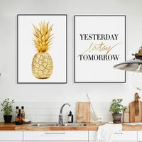 Wholesale Pictures Pineapples - Minimalist Golden Pineapple Life Quotes Poster A4 Nordic Living Room Wall Art Canvas Painting Home Decor Prints Picture No Frame