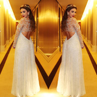 Wholesale Size 16 Pageant Dresses Glitz - Sexy Sheer Long Sleeves Glitz Prom Dresses 2016 Myriam Fares Keyhole Backless Beaded Celebrity Pageant Plus Size Evening Gowns BA0443