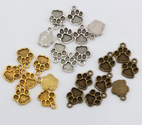 Discount ancient gold charms wholesale - Hot Sales ! 250 pcs Antique Silver   Antique bronze   Ancient Gold Tone Paw Print Charms Pendant 12*15mm DIY Jewelry