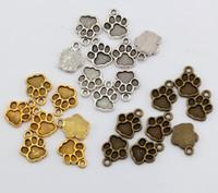venta de joyas antiguas al por mayor-Ventas calientes ! 250 unids Antique Silver / Antique bronze / Ancient Gold Tone Paw Print Charms Colgante 12 * 15mm DIY Jewelry