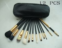 Wholesale low price makeup brushes - FREE SHIPPING lowest price HOT NEW Professional 12 Pieces Makeup Brushes + leather Pouch (48 set lot)