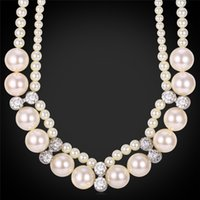 Wholesale Jewelry Box For Pearls - Pearl Jewelry Austrian Rhinestone Pearl Beads Necklace For Women High Quality Fashion Accessories Match Gift Box MGC