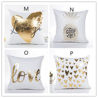 Wholesale Pillow Cover Cotton - New Bronzing Cushion Cover Gold Printed Pillow Cover Decorative Pillow Case Sofa Seat Car Pillowcase Soft