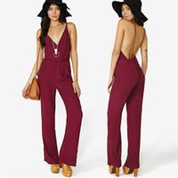 50cb3482a41 Deep V Backless Sexy Suspenders Women Rompers New street style Summer  Fashion Casual Full Length Jumpsuits Wine red Clothing Plus Size XXL