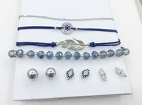 MODELO MULTI ROW BRACELETS TRIO EARRING SET BLUE GRAMAS DE VIDRO CADEIA BRACELETE FEATHER EVIL EYE CHARM BRACELET BALL DIAMOND SHAPE FEATHER STUD