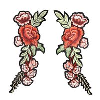 Wholesale Large Iron Patches - 2PCS Long Leaves Flower Patch for Clothing Iron on Transfer Applique Large Patches for Jeans Bags DIY Sew on Embroidery Badge