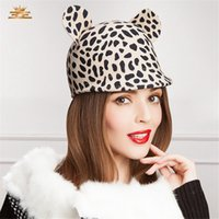 Speckle Cartoon Tier Frauen Elegante Warme Niedliche Ohr Wollmütze Hut Dot Bowler Cloche Trilby T104
