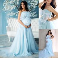 vestidos de tule de gestação venda por atacado-Vestidos de maternidade luz azul céu sem alças vestidos de noite feito sob encomenda de tule longo varrer trem fotografia vestido mulheres grávidas vestido de baile
