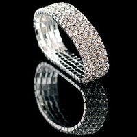 Wholesale Sparkling Rhinestone Ring - Beautiful Wedding Party Bridal Bracelets Fashion Charming Multilayer Crystal Rhinestone Stretch Bracelet Sparkling Charm bracelets For women