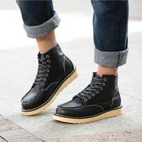 Wholesale Casual Work Boots For Men - Worker boots Men Fashion Joker Ankle Boots Mens Skid Resistance Rubber Sole Lace-Up Casual Boots For Man Three Color 39-44 H63