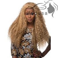 Wholesale Long Layered Wig - African american Synthetic lace front wigs for women Long layered curly blonde Afro wig Peruca loira free shipping synthetic wig for women