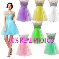Wholesale Real Image Beaded Mini Dress - Sweetheart Beads Homecoming Dresses Tulle Plus Size Sexy Mint Sky Blue A line Short Prom Party Graduation Cocktail Gowns 2015 Real Image