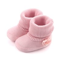 Wholesale Toddler Girl Gray Boots - 2017 NEW HOT Newborn fashion baby girl warm woolen yarn booties with flower toddler girls high boots prewalker