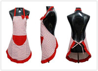 Wholesale Delicate Cute BowKnot Kitchen Restaurant Cooking Aprons With Pocket for Women