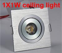 plafón cuadrado 1w al por mayor-Envío gratis 10 unids / lote 1 w Square LED Downlight Lámpara de techo de plata Pure / Warm Spot blanco iluminación