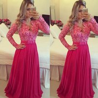 Wholesale Plus Size Evening Fuschia - Fuschia Prom Dresses 2016 Long Sleeve Pearls Beading Lace Appliques Chiffon Bowknot A Line Floor Length Evening Dresses