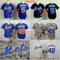 Wholesale Shirt Shorts For Children - 30 Teams- Youth New York Mets 5 David Wright 48 Jacob DeGrom boys ny Jersey stitched Authentic Kids Baseball Shirt for children