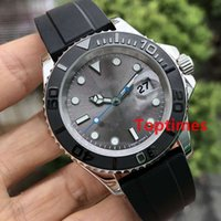 Wholesale reloj water resistant online - Gray Dial Rubber Oysterflex Strap Fashion mm Ceramic Bezel Mens Rose Gold Luxury Watch Brand Automatic Reloj Master Wristwatches Watches