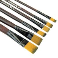 ingrosso artisti forniture-Spedizione gratuita New Art Artist Supplies 6 Brown Nylon Pennelli ordine $ 18no traccia