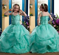 wedding dress tieres with best reviews - Mint Green Flower Girl Dresses Halter Beads Crystal Custom Made Tieres Skirts Baby Girl Pageant Gwons Wedding Party Gwons For Kid Cheap ZYY