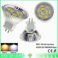 Wholesale Mr11 Led Bulb 12v Dc - led spot light bulbs mr11 smd5630-9pcs cup lamp lighting AC DC 12 volt led lights bulb 4W warm white  white light Bulb