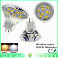Wholesale Light Bulb 12 Volt - led spot light bulbs mr11 smd5630-9pcs cup lamp lighting AC DC 12 volt led lights bulb 4W warm white  white light Bulb