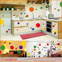 Wholesale Wall Decals Circles - DIY Home Decoration Colorful Adesivo De Parede Kids Stickers Circle Romantic Beautiful Removable Wall Sticke Room Decor Decal