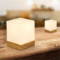 Wholesale Minimalist Style Table Lamp - Creative Ice cube Small Table Lamp Bedroom Bedside European Style Table Light Modern Minimalist Solid Wood Desk Lamp