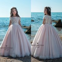 Wholesale Long Dresses Sleeves For Beach Party - Cute Blush Pink Flower Girl Dresses For Summer Beach Garden Weddings 2018 Cap Sleeves Sheer Appliqued Sequined Long Girls Pageant Party Gown