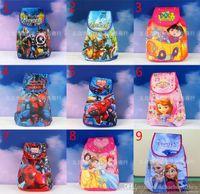 Wholesale Spider Backpack - 9 Design children Cartoon backpack 2015 new Boy girl bag The Avengers Frozen Spider-Man doctor princess Big Hero 6 Schoolbag B