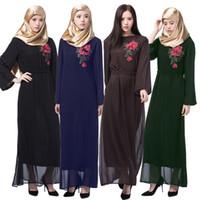 robe mousseline musulmane moderne achat en gros de-Abaya en mousseline de soie noire avec Multi broderie de fil de couleur musulman femmes robe pas cher Kaftans Modeste Modest vêtements femmes abayas