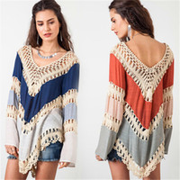 Wholesale Lace Crochet T Shirt Color - Hot sale Bohemia Style Women Loose T-shirt Hollow Crochet Spell Color Lace Patchwork Top Love sleeve Pullover Size S-XL
