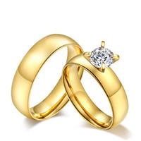 platin-jubiläumsgeschenke für männer großhandel-Großhandel Mode Paare Ehering Vergoldung Titan Edelstahl Ringe Für Frauen 7 MM Zirkonia Edelstein Ringe US Größe
