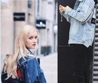 Wholesale Slim Mens Biker Jacket - Hip Hop 424 Kanye West Denim Jackets men women Denim Jacket high quality fashion Biker Jeans Jackets loose casual sportwear Mens coat