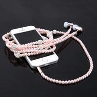 jóias universais venda por atacado-Com fio de jóias colar de pérolas fones de ouvido handsfree fone de ouvido fone de ouvido contas rosa para ios / android acessórios do telefone celular 01