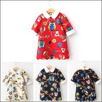 Wholesale Korean Style Owl Clothes - High Quality Girls Dresses short Sleeve lapel Sundress Owl Flower Printed Summer Clothing 2015 Korean Style free ship MOQ:300pcs SVS0429#