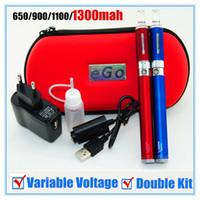 Wholesale Mt3 Battery Set - Double Vision Kit Electronic Cigarette EGO Starter Kit Contented Vision Spinner Battery MT3 Atomizer Zipper Case USB Charger E-Cig Sets DHL