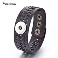 Wholesale Jewelry Black Hand - Vocheng NOOSA Ginger Snap Bracelet Dark Brown Black Genuine Leather Hand Knitting Interchangeable Jewelry 18mm NN-285