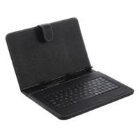 tablet android teclado micro usb al por mayor-Funda universal de teclado con teclado USB Micro Funda de cuero con soporte para cable micro OTG para 7 8 9 10.1 pulgadas Android Tablet PC Media