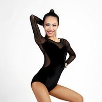 99b665d83cfd38 Free Shipping Black Adult Girls Latin Dance Clothes Tango Salsa Ballroom  Modern Practice Dance Tops Sexy Mesh Stitching Leotard Bodysuit 01
