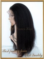 Wholesale Yaki Lace Front Brazilian 1b - Faover Hair 7A Kinky Straight Coarse Yaki 1#,1b,2#,4#,Natural Color 100% Brazilian Virgin Hair Front Lace wig 130% density with baby hair