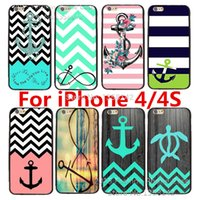 Wholesale Iphone4s Cases Cartoon - Wholesale-2015 New Arrive Cartoon Cute with Stripe Anchor Print Hard Case Cover for Apple i Phone iPhone 4 4S 4G for iPhone4s iPhone4