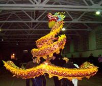 çince ejderha festival kostümleri toptan satış-18 m boyutu 3 # 10 yetişkin 9 ortak insanlar sarı ipek ÇIN EJDERHA DANS Halk Festivali Kutlama maskot Kostüm