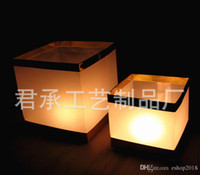Wholesale Wishing Lamp Sky - Floating Water Lamp Square Chinese Lanterns Square Blessing Light Krathong Festival Lanterns Wishing Water River Candle Light Paper Lanterns