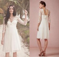 Wholesale Sexy Short Long Dressed - Sexy 3 4 Long Sleeve Lace Backless Beach Short Wedding Dresses 2015 Modest V Neck A Line Knee-Length Chiffon Bridal Gowns